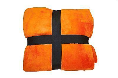 Ultra Super Soft Fleece Plush Luxury BLANKET All Sizes Queen-King Sizes Orange