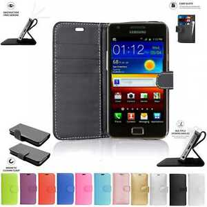 Samsung-Galaxy-S2-I9100-Book-Pouch-Cover-Case-Wallet-Leather-Phone-Black-Pink