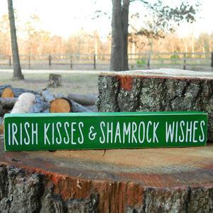 Irish Kisses Shamrock Wishes Wooden Sign St Patricks Day 6