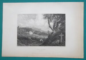 PORTUGAL Convent of the Holy Cross Santa Cruce - 1834 Antique Print Engraving