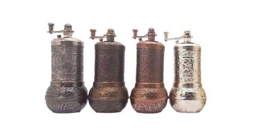 HANDMADE MANUAL TURKISH BRASS PEPPER GRINDER SPICE MILL 4.3 INCH