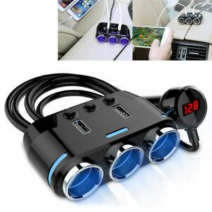 3-vias-divisor-de-doble-zocalo-de-mechero-de-coche-12V-Cargador-USB-Adaptador-De-Corriente