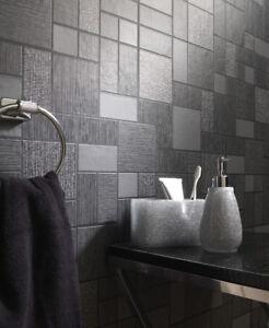 Image Is Loading Kitchen Bathroom Washable Vinyl Black Glitter Square Tile