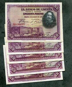 LOTE-5-BILLETES-50-PESETAS-1928-los-5-EBC-letra-serie-diferente-los-5-de-la-foto