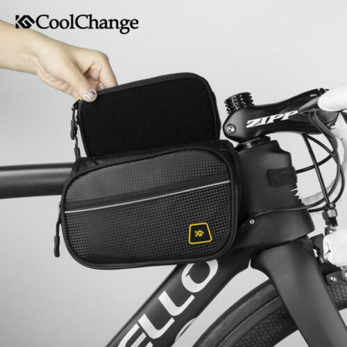 Bicycle Front Frame Bag Cycling Bike Top Tube Double Pouch Holder Panniers Black