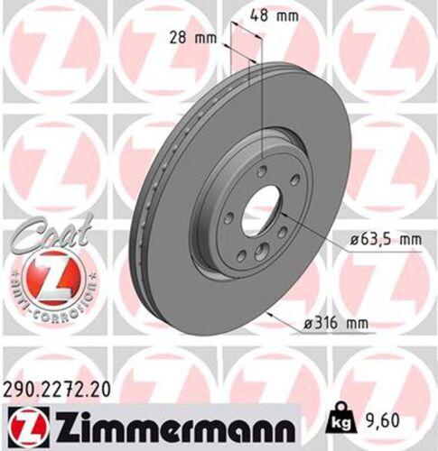 2x ZIMMERMANN Bremsscheibe COAT Z 290.2272.20 für XE 16 JAGUAR X760 vorne AWD