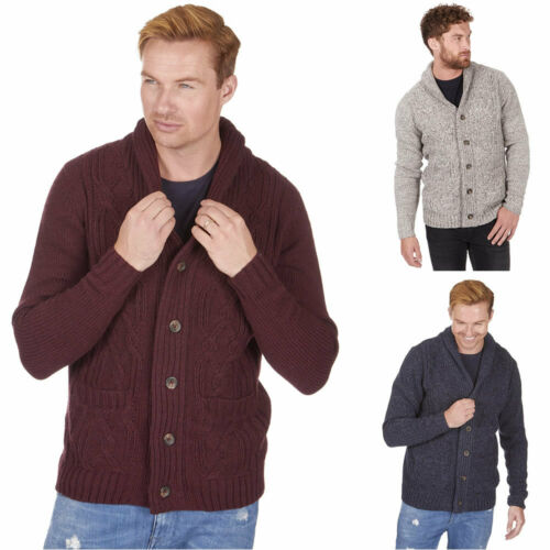 Mens Chunky Cable Shawl Collar Cardigan Thick Warm Winter Sweater Knitted Jumper