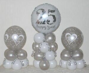 Silver Wedding Anniversary 25th 3 Pack Table Balloon Decoration Display Kit Ebay