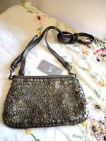 J Jill Clutch Purse Convertible Strap Bronze Leather & Sequins $59