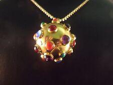 Retro Vintage Amethyst And Cabochon Sputnik Charm Pendant 18K Gold Fine Jewelry