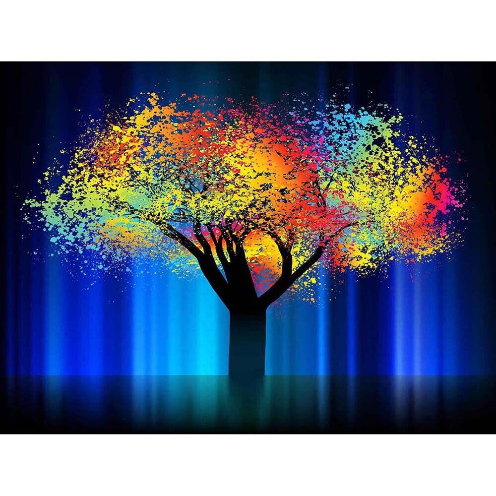 BLACK TREE BLUE ILLUSTRATION RAVEN SILHOUETTE BLACK FRAMED ART PRINT B12X9619