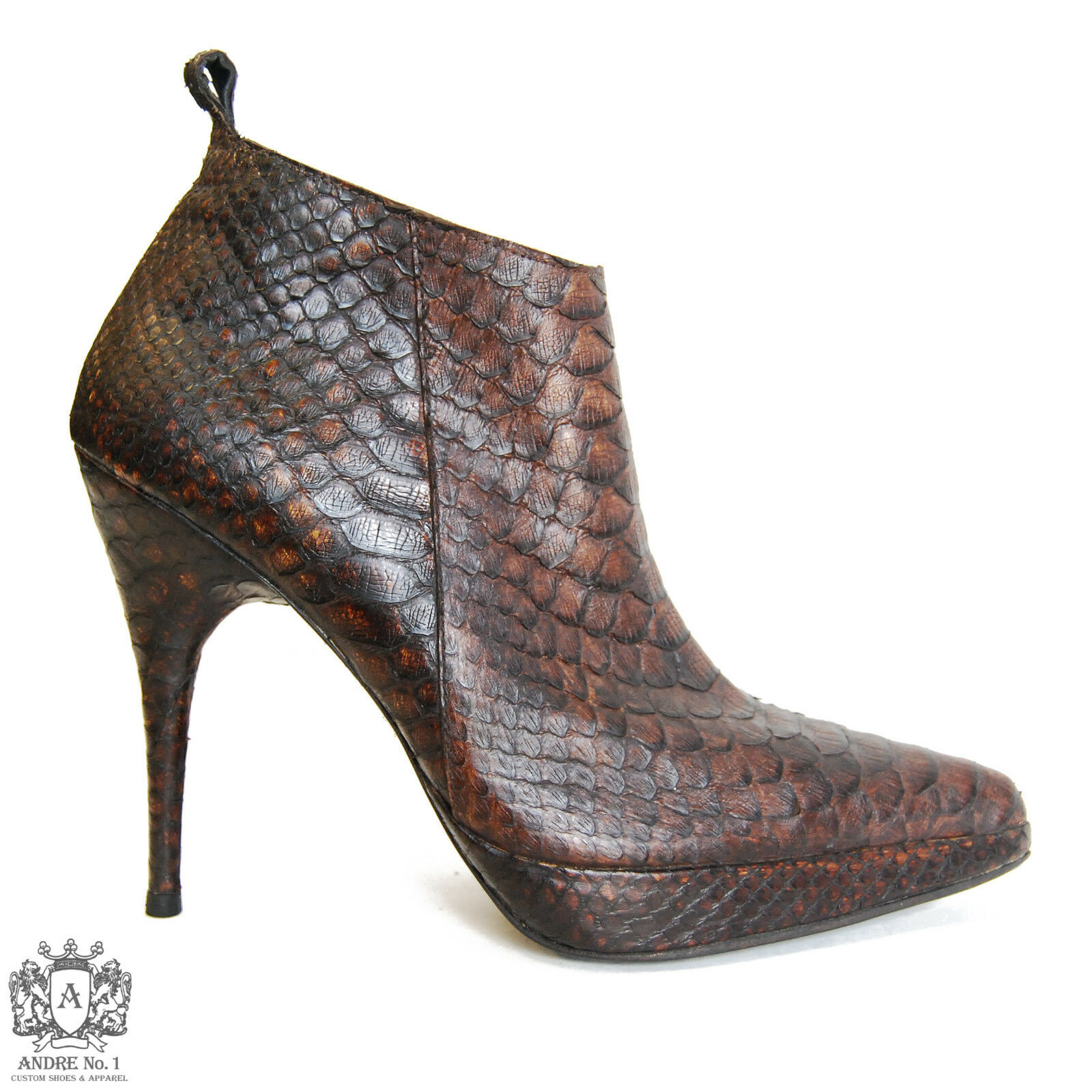 ANDRE No. 1 Brown Snakeskin Zip-Up Stiletto Boots, US 10, >>HANDMADE<<