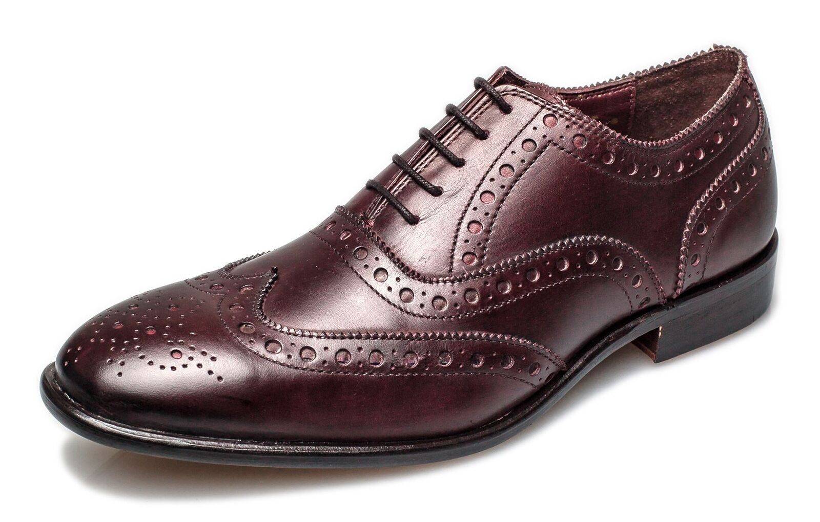 London Brogues Bucanon Mens Leather Oxford Lace Brogue Shoes Bordo