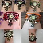 Fashion Women Quartz Movement Leather Butterfly Bracelet Wrist Watch Jewelry KP