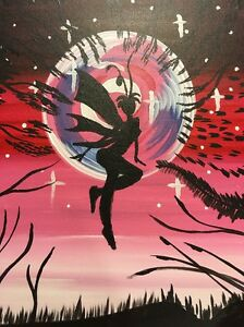 Details About Pink Black Fantasy Fairies Flying Under Red Moon Lit Sky Stars Art Painting
