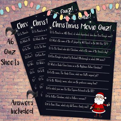 Christmas Movie Trivia Quiz , Kids Family Activity Game , Stocking Party  Santa
