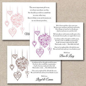 50 X DIY Floral Hearts Wedding Poem Cards For Your Invitations