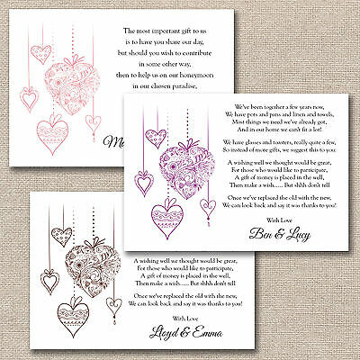 50 x DIY Floral Hearts Wedding Poem Cards For Your Invitations - Money Cash Gift