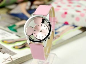 2015 New Leather Band Stainless Steel Sport Analog Quartz Women Wrist Watch
