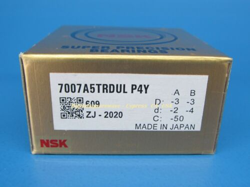 Set of Two NSK 7007A5TRDULP4Y Abec-7 Super Precision Spindle Bearings.