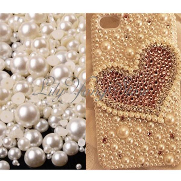 1000/2000Mix Size2-10mm Half Round Flatback Iory Pearl Bead DIY Nail Phone Decor