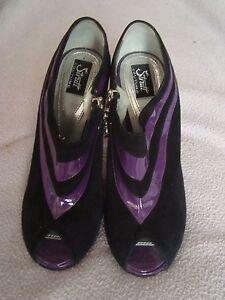 Respectueux Strutt Couture Uk 4 Eu 37 Violet Cuir Verni/en Daim Noir Rrp £ 265.00-afficher Le Titre D'origine