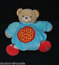 Peluche Doudou Ours Chinois Bleu KALOO 2004 Boule Motif Dragon Cercle 23 Cm TTBE