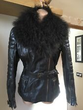Stunning River Island Brown 100% Leather Jacket with Mongolian Fur Collar Size12