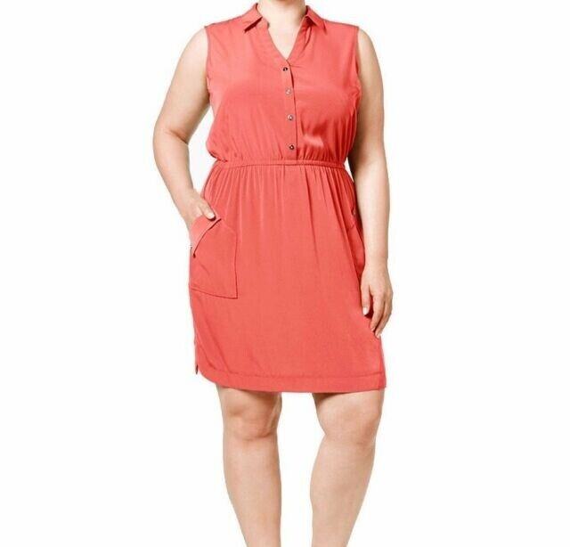Alfani Plus Size Dress 24w Gathered Waist Sleeveless Coral Pink