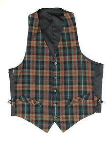 Herrenmode Kleidung & Accessoires EntrüCkung Vtg Herren Weste Weste S Grün Rot Tartan Schottenkaro Wollmischung Knopf Tasche