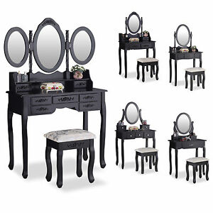 Black Dressing Table Set Makeup Desk with Stool Drawers and Oval ...