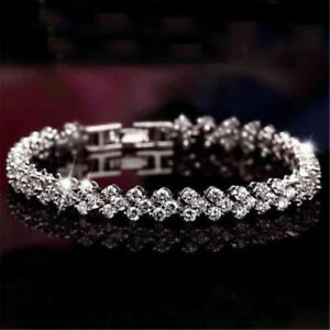 Women-Rhinestone-Crystal-Tennis-Bangle-Wedding-Bridal-Wristband-Bracelet-Jewelry
