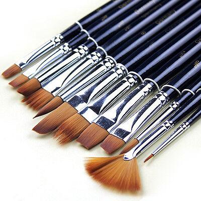 12 Pcs Excellent Pro Artist Watercolor Oil Acrylic Paint Nylon Hair Brushes Set