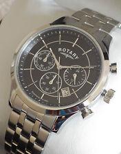 Rotary Men's GB03633/04 Black Chronograph Bracelet Swiss Watch RRP £229 - NEW