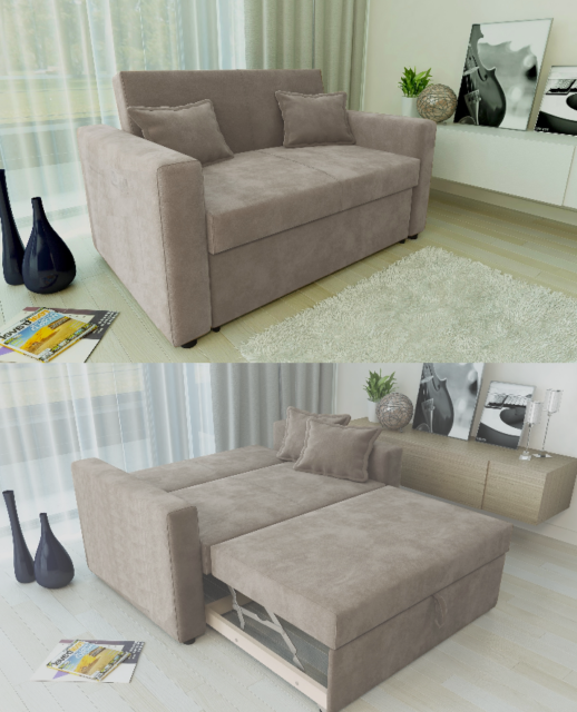 RAVENA 2 Seat Sofa Bed Taupe Fabric Click Clack Pull out Living Room ...