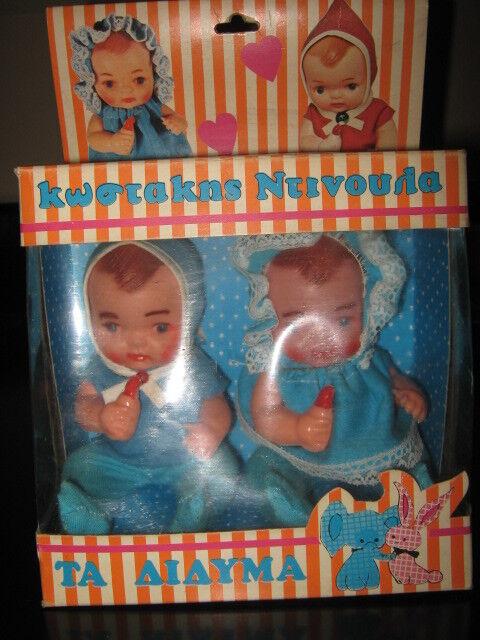 Increíble VINTAGE RARO Muñecas Litho griego-los gemelos-de 60s Liaco Muñecas Menta en caja