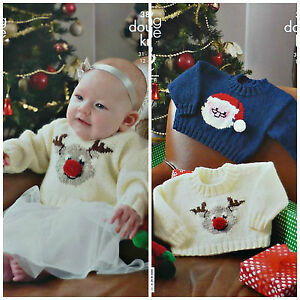 Christmas Knitting Patterns For Babies.Details About Xmas Knitting Pattern Baby Rudolph Father Christmas Jumpers Dk King Cole 3804
