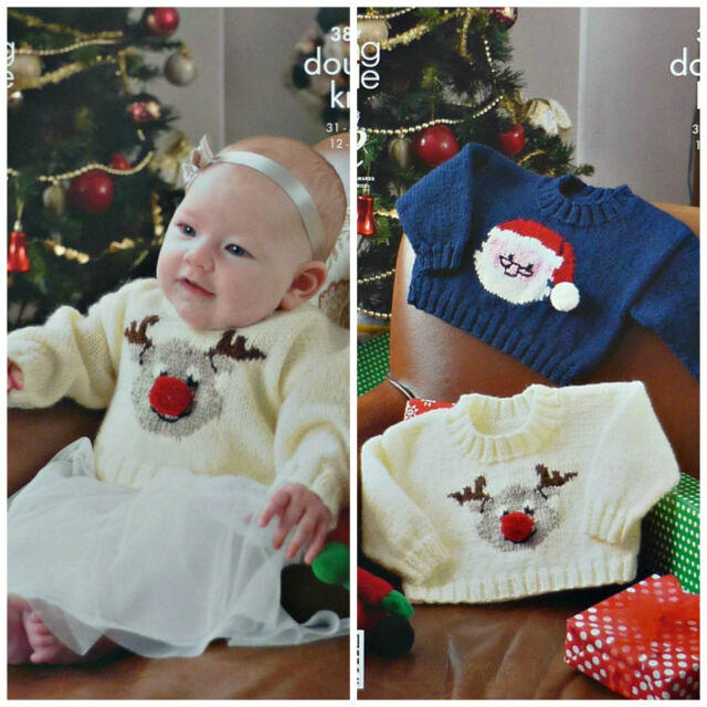 "King Cole Christmas DK Knitting pattern Baby Sweater 12-22/"" Santa Rudolph  3804"