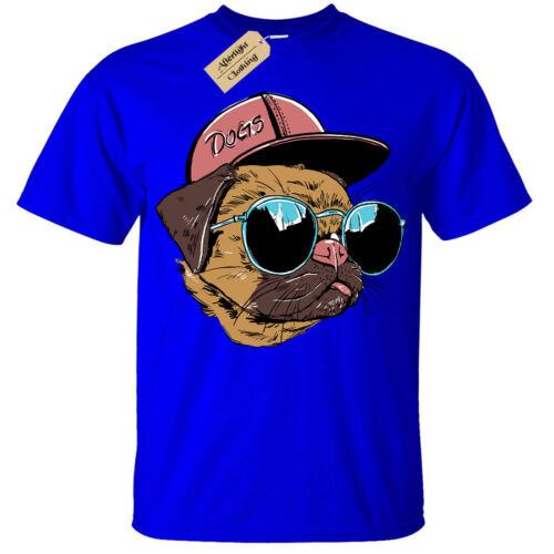 Kids Boys Girls Dogs T-Shirt pug dog lover glasses hat cute