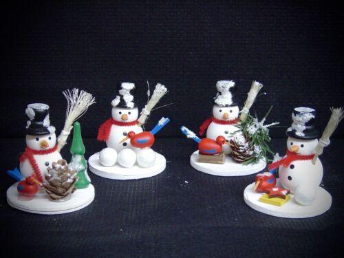 Kit de 4 Bonhomme de Neige Noël table décoration sur disque 6cm en couleur bois 70308