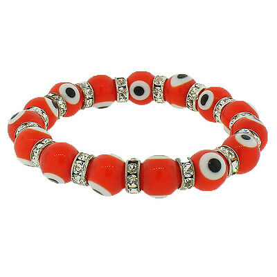 Orange Red Silver-Tone White Crystals CZ Hamsa Evil Eye Stretch Bangle Bracelet