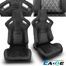 Jdm Universal Black Pvc Leater Black Line Racing Seats Leftampright Withslider Pair