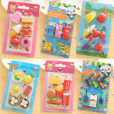 Cute Funny Food Rubber Pencil Eraser Stationery Sets Children Party Gift