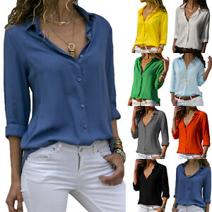Womens-Long-Sleeve-Rolled-V-Neck-Blouse-Button-Office-Baggy-Shirt-Tops-Plus-Size
