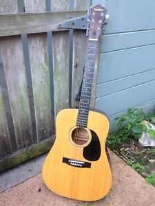 Vintage-1970s-Ventura-V-6-acoustic-guitar-W-Gig-Bag-MIJ-Fan