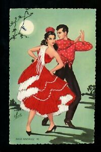 Embroidered-clothing-postcard-Spain-Flamenco-Dancer-Andaluz-Artist-Gumier-90