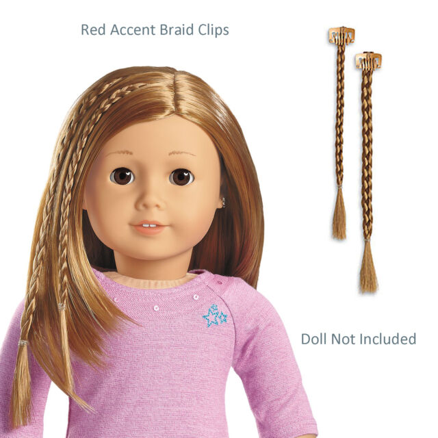 American Girl Accent Red Braid Clip Set Of 2 Hair Accessories For