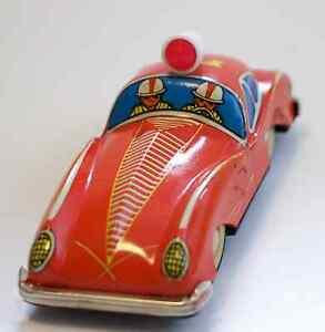 Antikspielzeug Blechspielzeug Tin Toy China 'fire Chief' 'jaguar Race Car' Mf144 Originalkarton Hell In Farbe Gefertigt Nach 1970