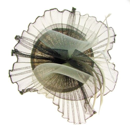e7201blk Prague Pleated Crin Fascinator on Band in Black//Ivory