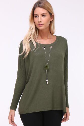 Damen Pullover Leicht Kettendetail Langarm Puschel Sweater Longshirt Übergang